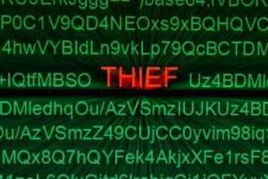 word THIEF on green monitor backgroud